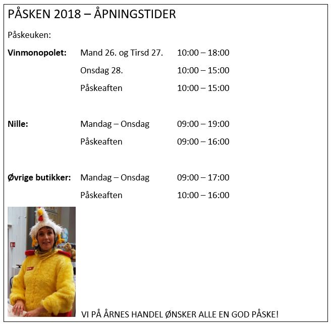 Varehuset Årnes Handel - åpningstider påska 2018