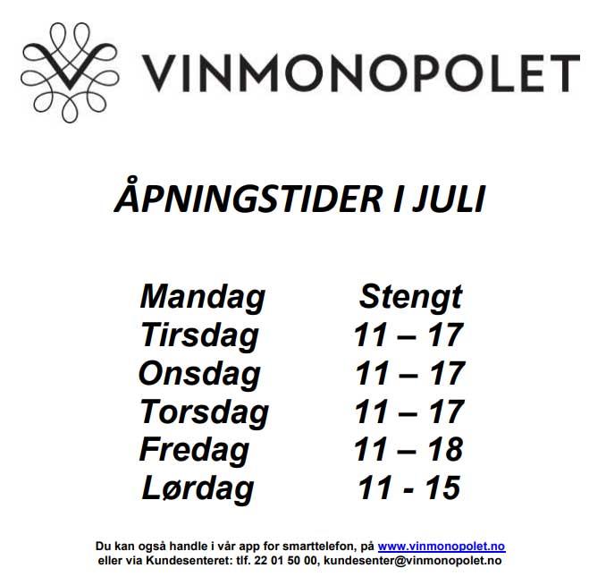 Åpningstider Vinmonopolet juli 2019